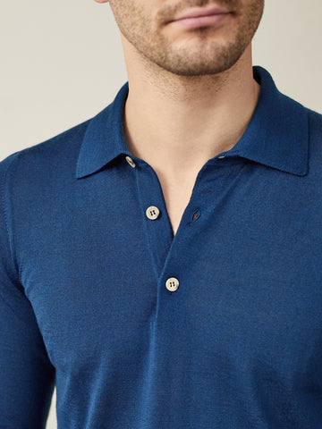 Luca Faloni Atlantic Blue Fine Silk-Cashmere Polo Made in Italy