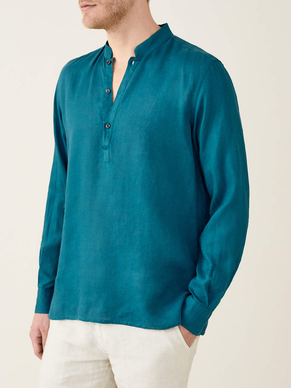Luca Faloni  Petrol Green Forte Linen Shirt Made in Italy