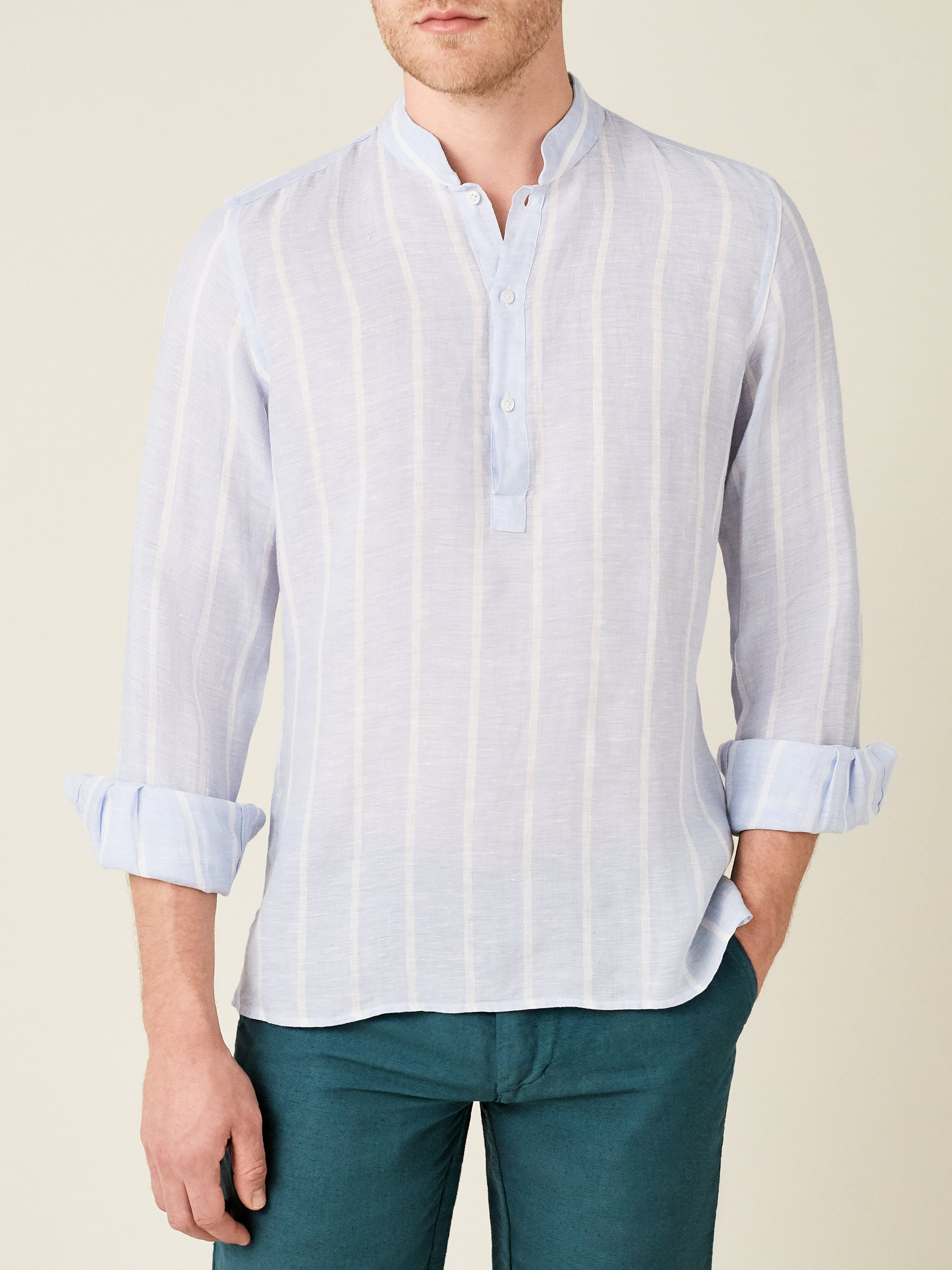 Luca Faloni Striped Forte Linen Shirt Made in Italy