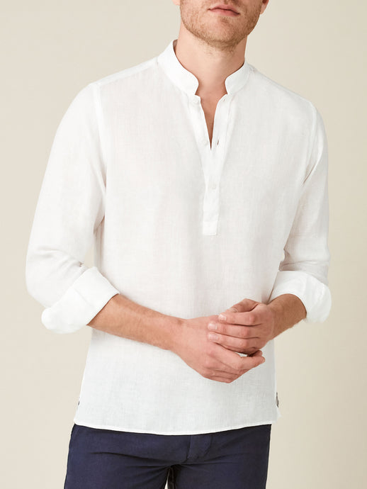 Luca Faloni White Forte Linen Shirt Made in Italy