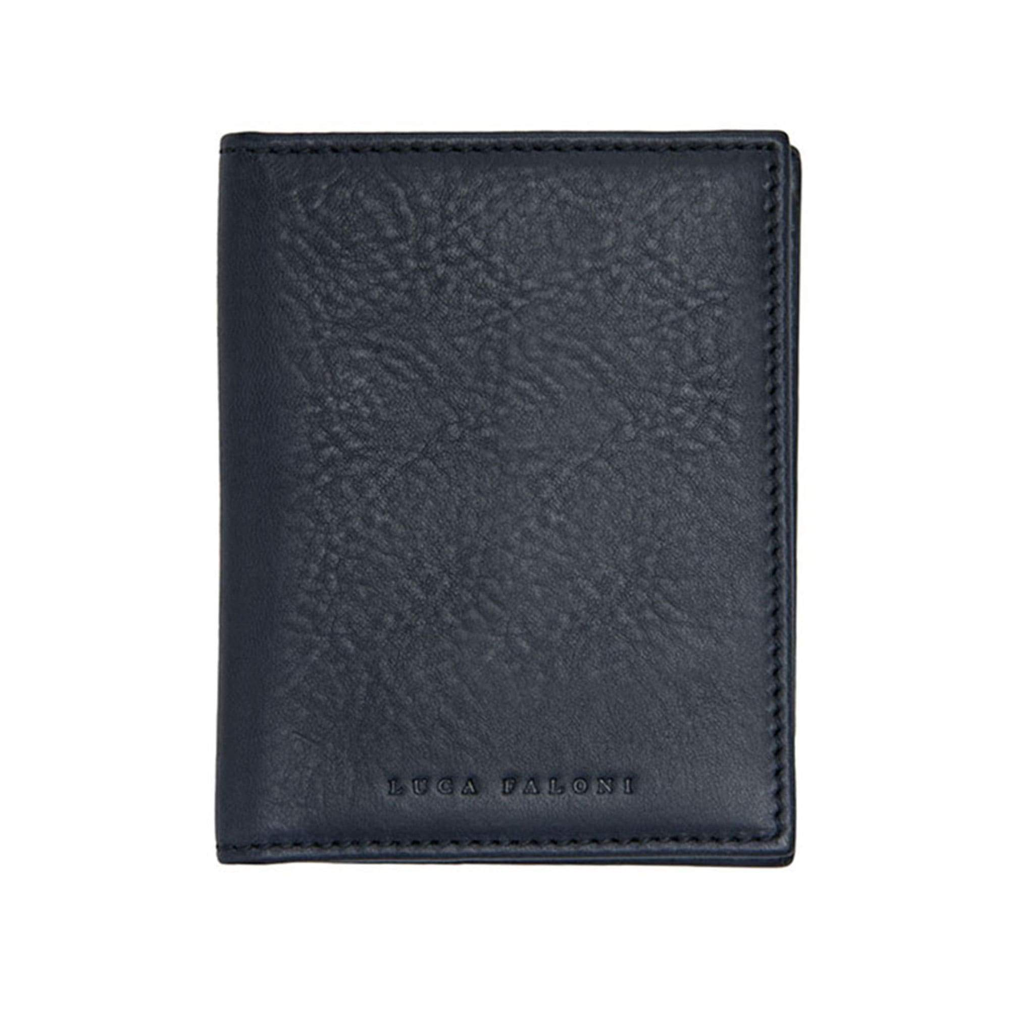 Luca Faloni Ink Blue Veloso Bifold Cardholder Made in Italy