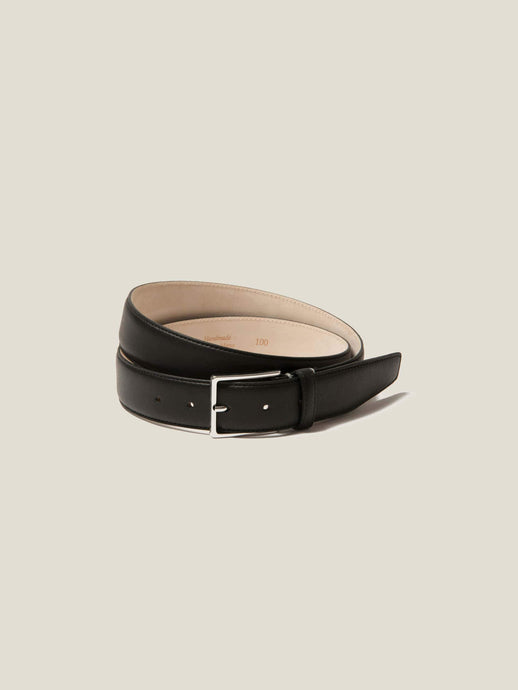 Luca Faloni Black Calf Leather Belt Made in Italy
