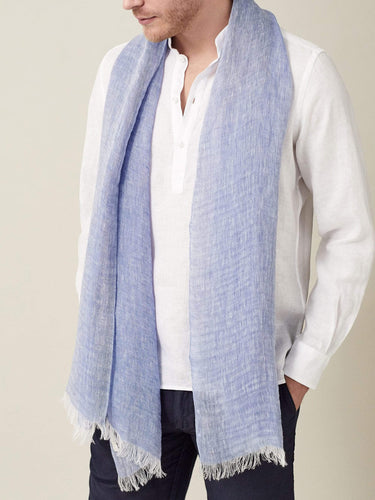 Luca Faloni Blue Melange Linen Scarf Made in Italy