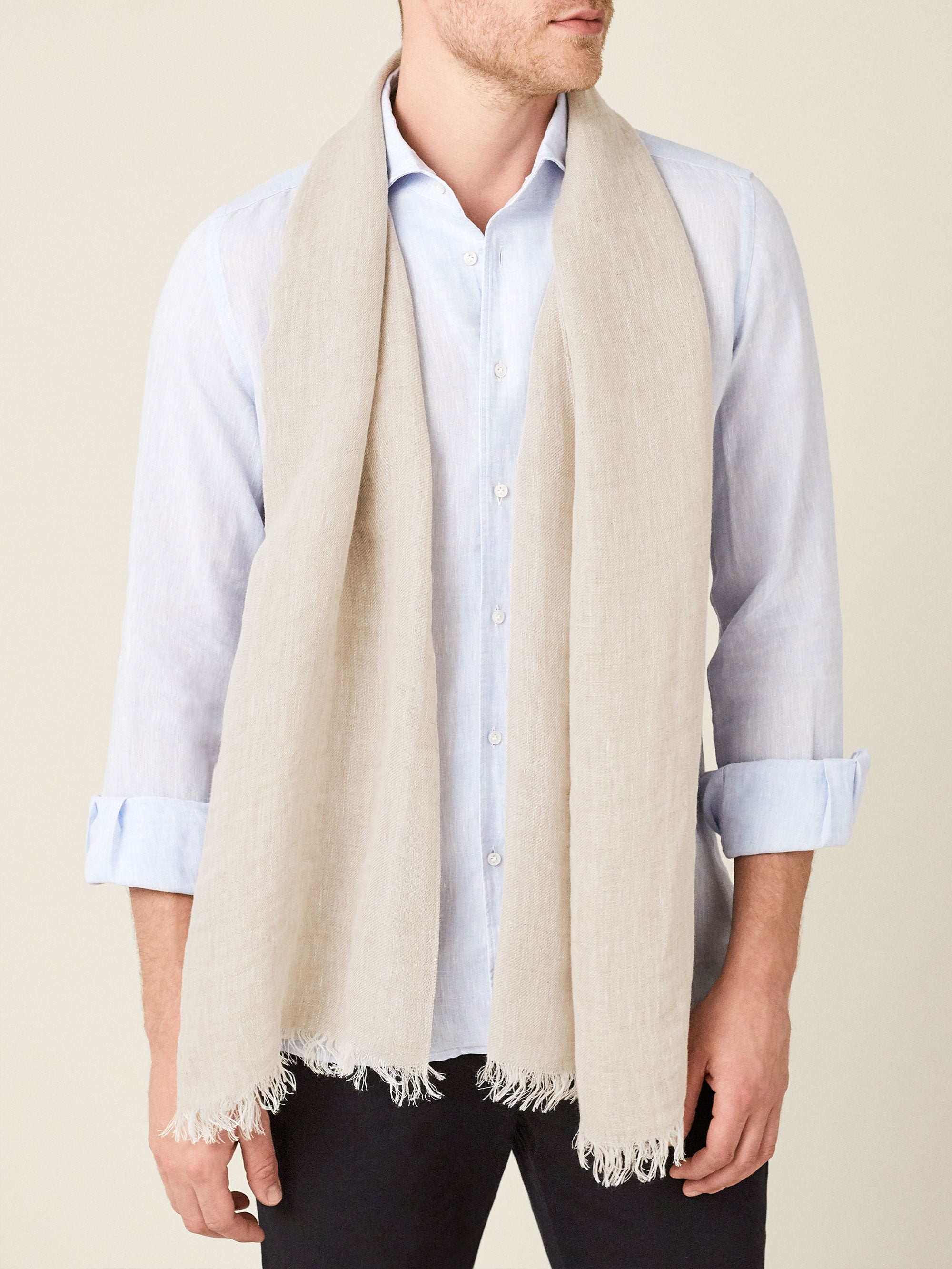Luca Faloni Sand Beige Linen Scarf Made in Italy