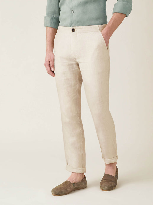Luca Faloni Sand Lipari Linen Trousers Made in Italy
