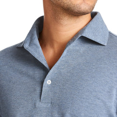 Luca Faloni Long Sleeved Cotton Pique Steel Blue Brera Polo Shirt Made In Italy
