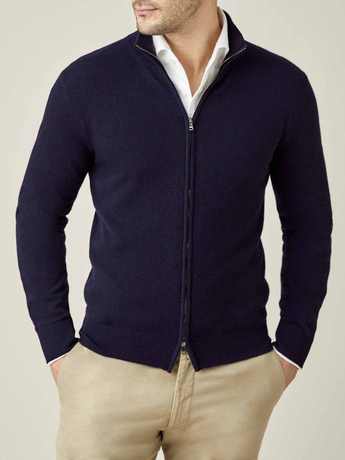 Luca Faloni Midnight Blue Pure Cashmere Zip Cardigan Made in Italy