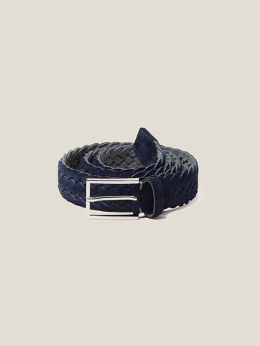 Luca Faloni Navy Blue Woven Suede Belt Made in Italy