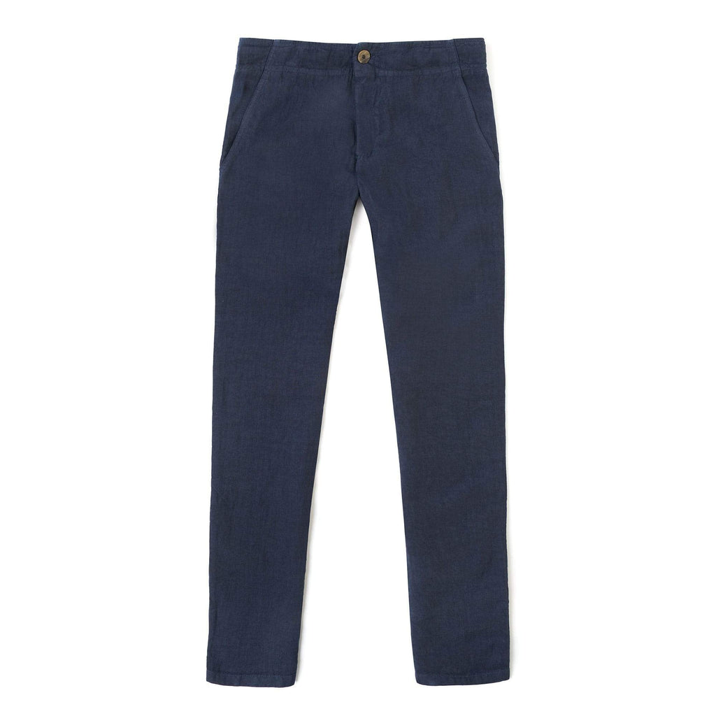 Luca Faloni Navy Linen Trousers Made in Italy