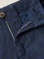 Luca Faloni Navy Blue Linen Trousers Made in Italy