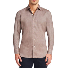 Luca Faloni Nocciola Brown Brushed Cotton Shirt Made in Italy