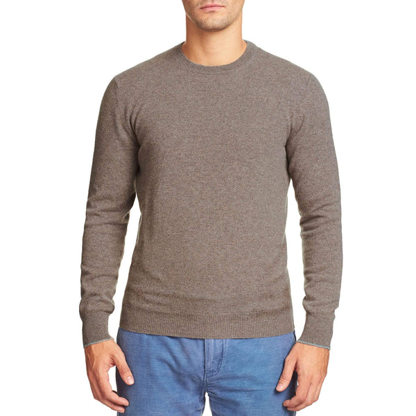 Luca Faloni Nocciola Brown Melange Pure Cashmere Crew Neck Made in Italy