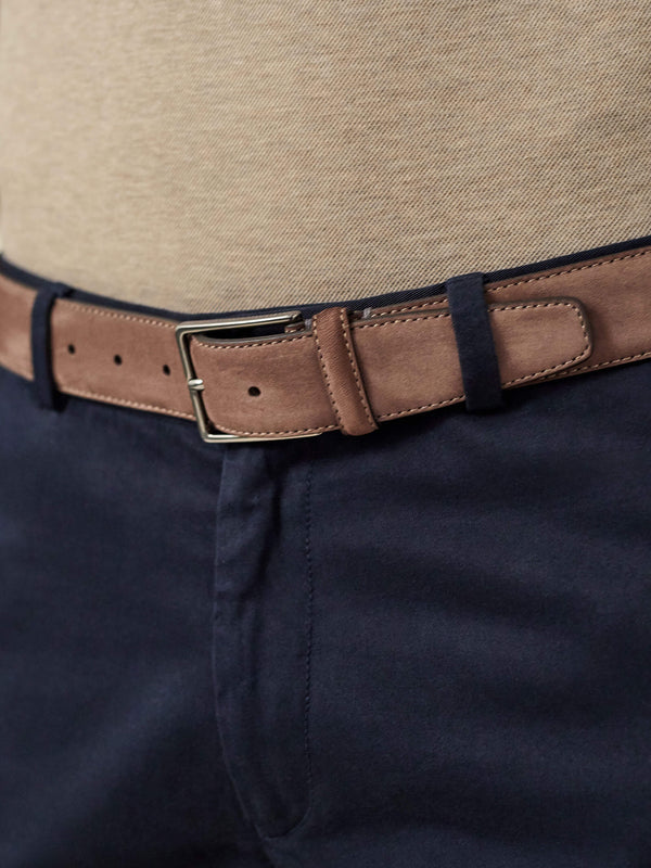 Luca Faloni Hazelnut Brown Nubuck Belt Made in Italy