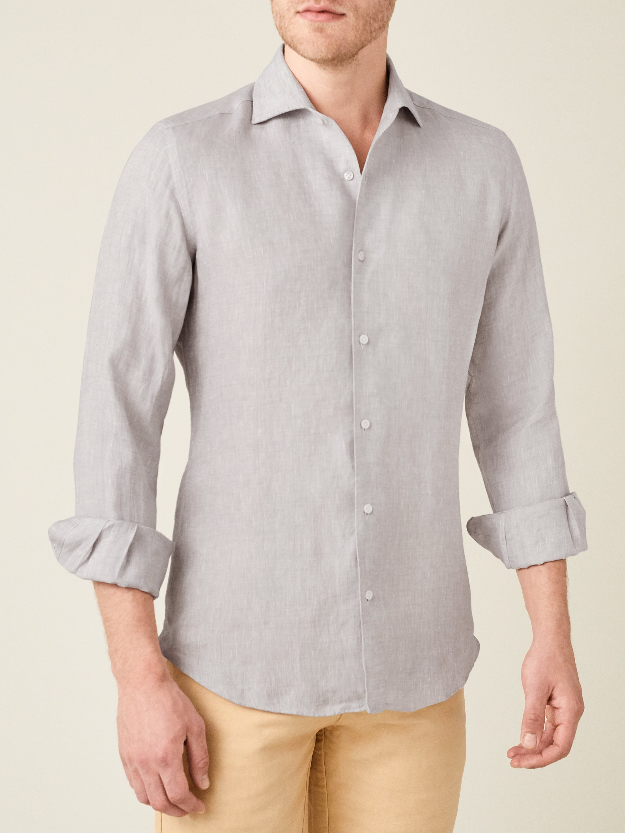 Luca Faloni Light Grey Portofino Linen Shirt Made in Italy