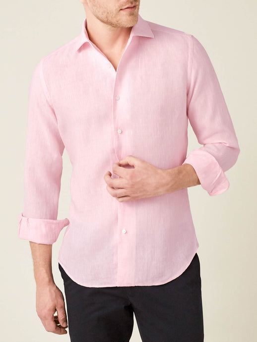 Luca Faloni Light Pink Portofino Linen Shirt Made in Italy