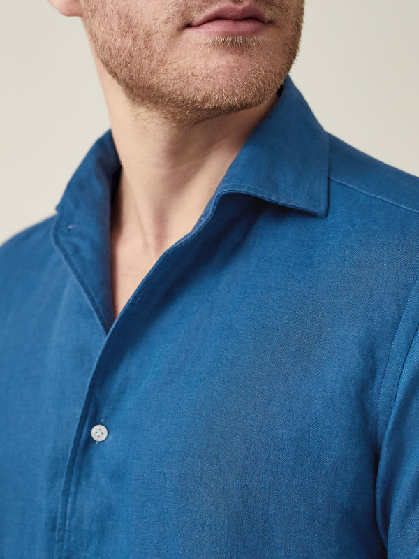 Luca Faloni Royal Blue Portofino Linen Shirt Made in Italy