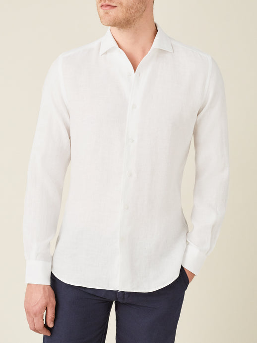 Luca Faloni White Portofino Linen Shirt Made in Italy