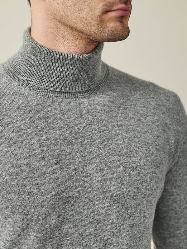 Luca Faloni Dolomiti Grey Pure Cashmere Roll Neck Made in Italy