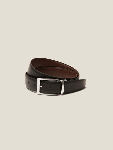 Reversible Black/Brown Calf Leather Belt