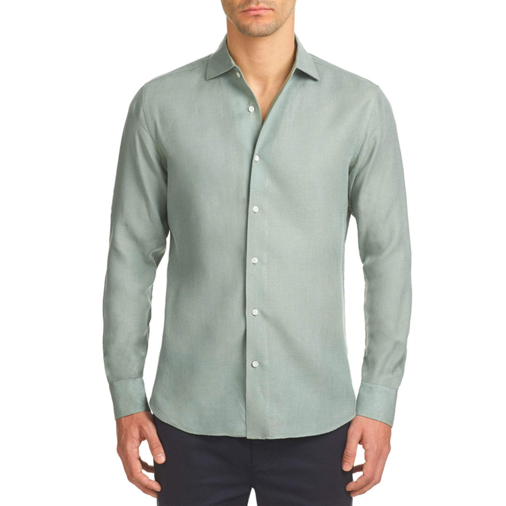 Luca Faloni Sage Green Portofino Linen Shirt Made in Italy