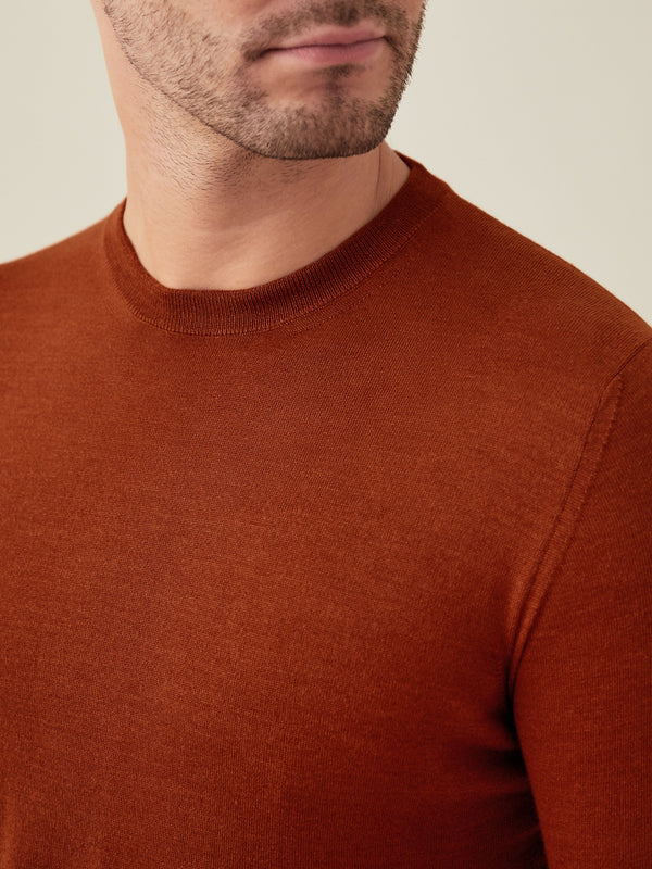 Luca Faloni Rust Red Fine Silk-Cashmere Crew Neck Made in Italy