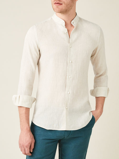 Luca Faloni Sand Versilia Linen Shirt Made in Italy