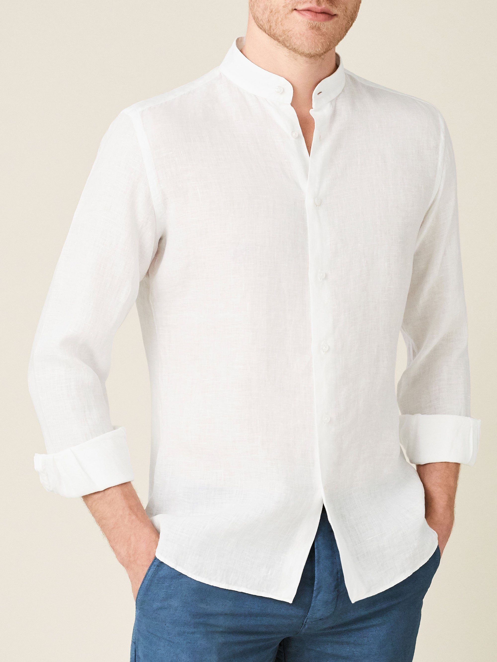 Luca Faloni White Versilia Linen Shirt Made in Italy