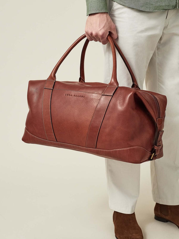 Luca Faloni Cognac Brown Weekender Made in Italy