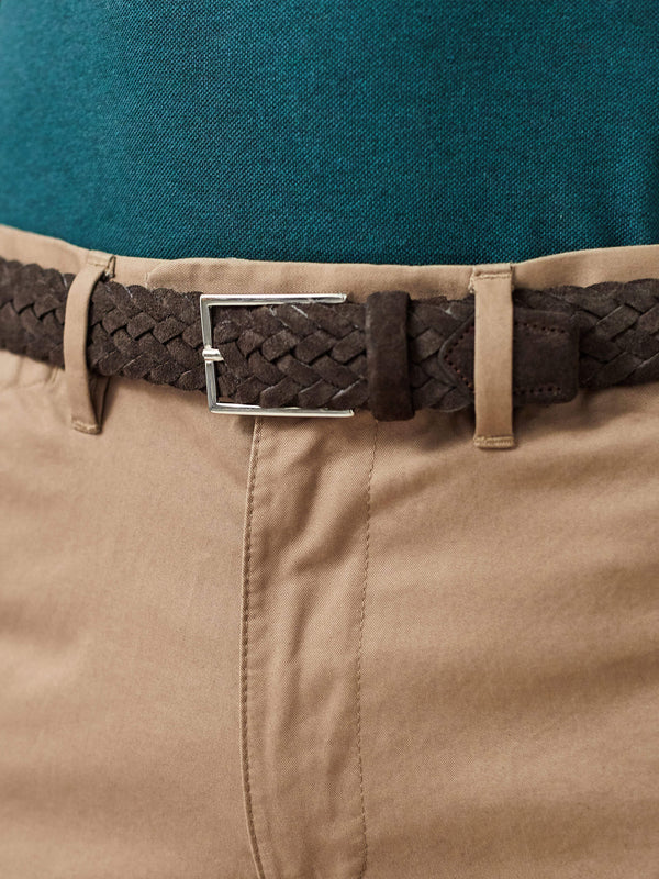 Luca Faloni Dark Brown Woven Suede Belt Made in Italy