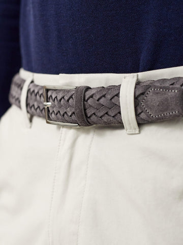 Luca Faloni Grey Woven Suede Belt Made in Italy