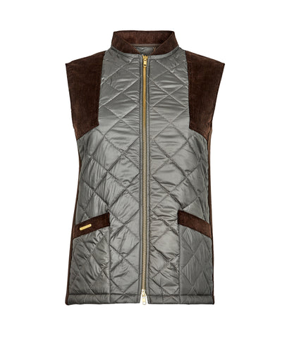 green Quilted Gilet with TROY branded pocket bar & corduroy shoulder & pocket patches