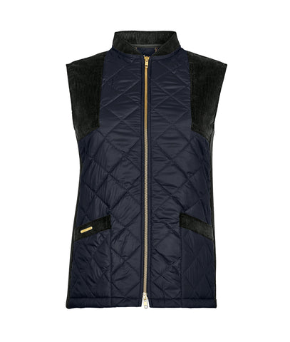 navy Quilted Gilet with TROY branded pocket bar & corduroy shoulder & pocket patches