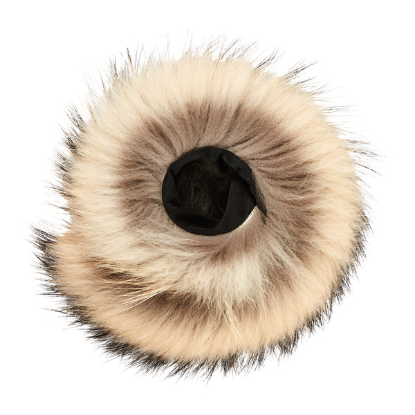 Raccoon Fur Wrist Snaps in White