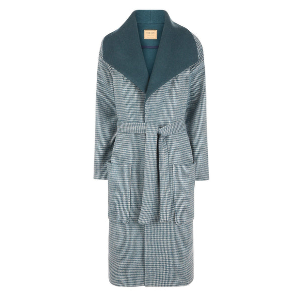 Front view of the TROY Dogtooth Wool Coat in Sea Green