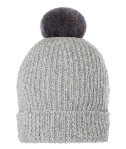 TROY Pom-Pom Hat in Grey with Faux Fur
