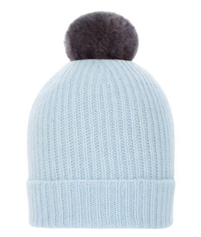 TROY Pom-Pom Hat in Sky Blue with Faux Fur