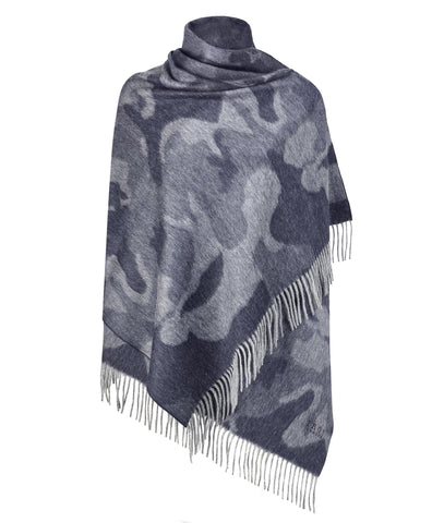 Front view of the TROY Camo Winter Stole in Navy on a white background