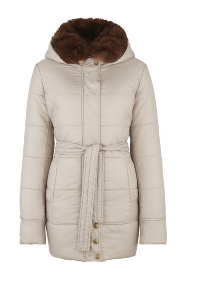Front view of the TROY Puffer Jacket in Oyster
