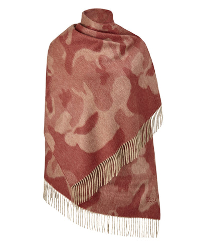 Front view of the TROY Camo Winter Stole in Burnt Red on a white background
