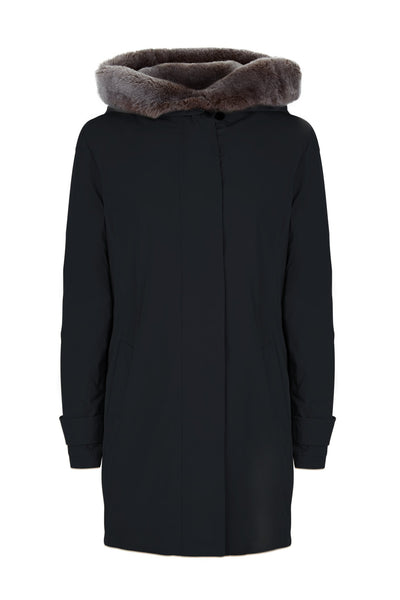 Front view of the TROY Rex Parka in Black with Faux Fur