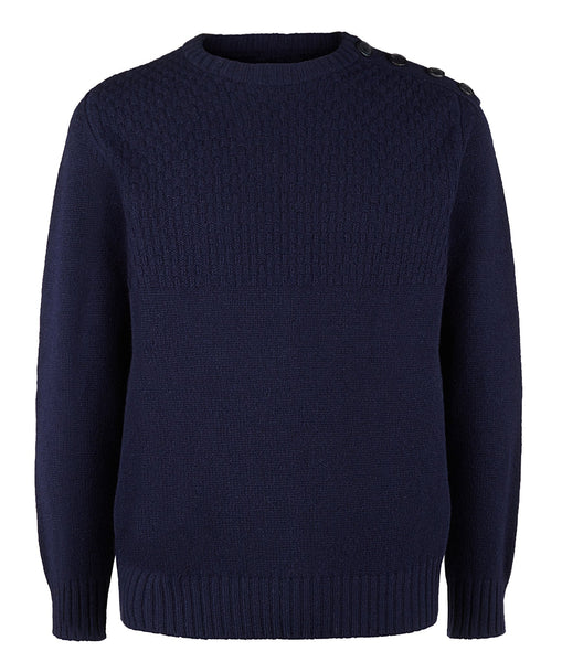 Front view of the TROY Buttoned Boyfriend Jumper in Navy on a white background