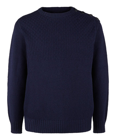 Buttoned Boyfriend Jumper in Navy