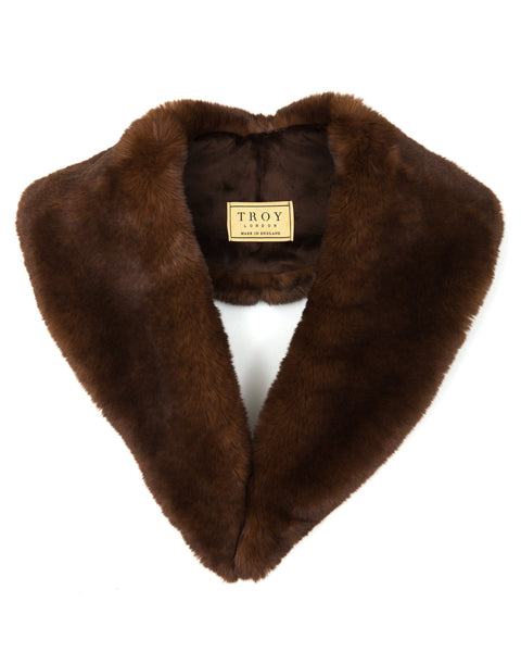 Accessories - Faux Fur Lapel Collar In Chocolate