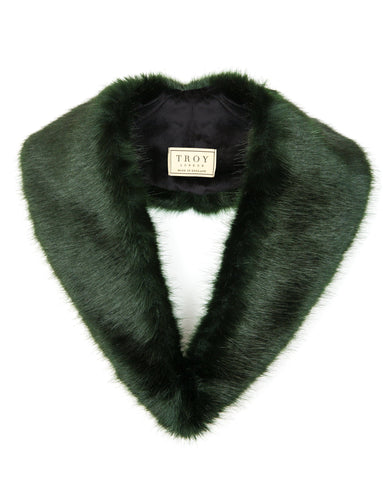 Accessories - Faux Fur Lapel Collar In Forest Green