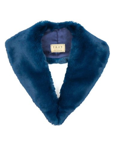 Accessories - Faux Fur Lapel Collar In Teal