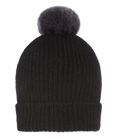 Accessories - Pom-Pom Hat In Black With Faux Fur