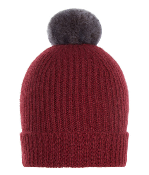 Accessories - Pom-Pom Hat In Burgundy With Faux Fur