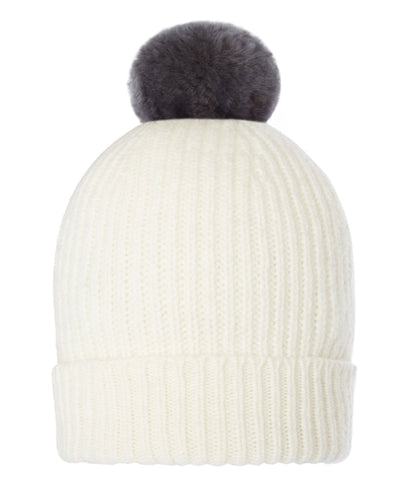 Accessories - Pom-Pom Hat In Cream With Faux Fur