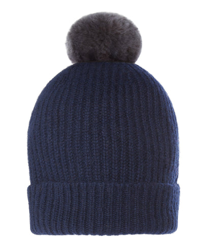 Accessories - Pom-Pom Hat In Navy Blue With Faux Fur