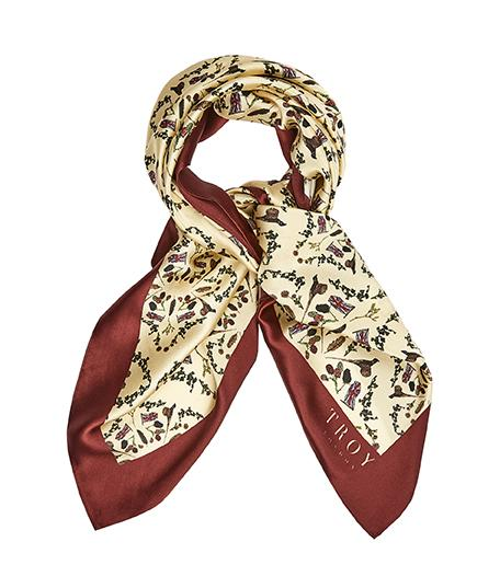 Accessories - Silk Scarf In Cream & Burgundy